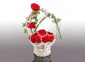 cos trandafiri rosii premium